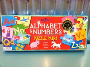 The Alphabet & Numbers Puzzle Pairs game (ages 3+) is an  Oppenheim Toy Portfolia Best Toy Award winner! Help your budding readers match letters to pictures and learn their numbers, too. The directions include 6 different ways to play for endless amusement.
