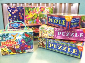 Puzzles (Ages 3-5+). We've got several puzzles varieties ranging from 20-64 pieces.