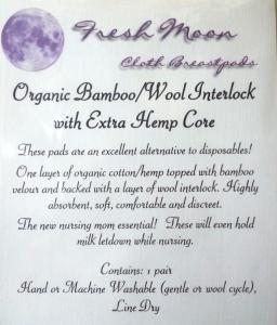 Organic Cotton Wool Hemp Nursing Breast Pads